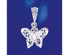Sterling Silver Butterfly Pendant Italian Filigree Charm Solid 925 Italy New