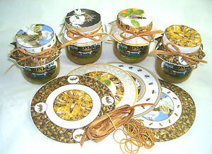 Beekeepers honey jar papers complete with rubber bands x 40