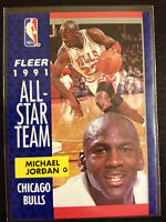 1991-92 BASKETBALL FLEER MICHAEL JORDAN #211 ALL-STAR TEAM 20+YEARS OLD RARE