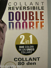 COLLANT CALZA DONNA REVERSIBILE LEVANTE DOUBLE T.3 MOKA BRUCIATO 80 DEN