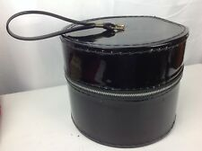 Vintage Small Hat Wig Box Round Zip-Up Black