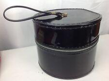 Vintage Small Hat Wig Box Round Zip-Up Black