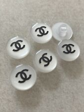 """Chanel Vintage 12mm Pearl White Shank Buttons 6pc Set 1/2"""""""