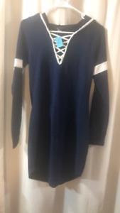 Derek Heart Navy Blue with White Accents Hoodie Dress