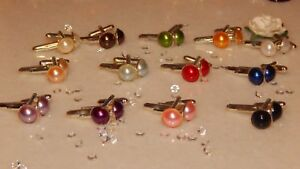 S/P 10mm Cufflinks & Acrylic Faux Pearls - Various Colours-Wedding/Anniversary