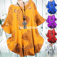 S-5XL Plus Size Blouse Women Boho Short Sleeve Casual Loose Tunic Top Tee Shirt