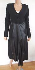 $2380 Authentic MUGLER Black TUXEDO Long Jacket Coat with LEATHER Trim 38 US-6 S
