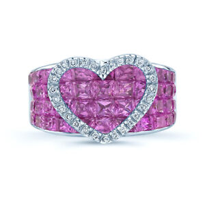 18K White Gold Pink Sapphire Diamond Heart Ring Cocktail Invisible Set Princess