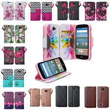 LG Optimus Zone 3/LG K4/LG Spree/LG Rebel Pu Leather Flip Kickstand Wallet Cover