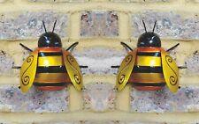 2x Large Metal Bumble Bee Summer Garden Decoration Ornament Wall Art
