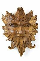 GREEN MAN hand carved wooden plaque - tree spirit / celtic  / wiccan carving