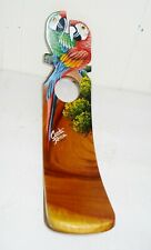 Vintage 1960'S Wine Bottle Holder Hand Painted Birds Design Costa Rica Nr