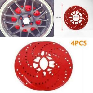 4PCS Car Vehicle Aluminum Wheel Brake Disc Cover Decorative Rotor Cross Drilled