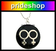 Double Female Symbol Metal And Resin ID Pendant Necklace Lesbian Pride #771