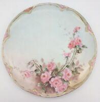 "Haviland France Hand painted Rose Plate 9"" Scalloped Gilded edge"