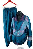 Westport Ltd Womens Track Suit Windbreaker Retro Floral Green Size Medium