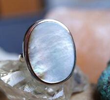 Silberring 69 Silber Elegant Perlmutt Handarbeit Schlicht Riesig Groß Ring