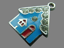 2 Silver Enamel GINGERBREAD HOUSE Christmas Charms Pendants Rhinestones che0202