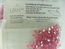 100 TOUPIE VERITABLE CRISTAL SWAROVSKI ROSE AB 4MM    B244