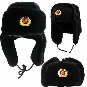Russian Soviet Army USSR Badge Real Military Fur Soldiers Ushanka Headwear Black