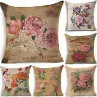 18'' Vintage Flower Cotton Linen Pillow Case Cushion Cover Home Decor