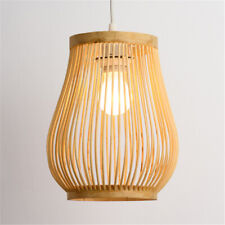 Asian Bamboo Wicker Rattan Cage Pendant Light Fixture Loft Kitchen Ceiling Lamp