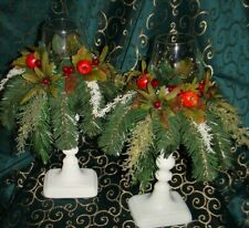 Christmas Table Top Decor pair of Candlestick Holder Pomegranate Pine cones OOAK