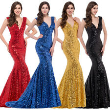 2018 Womens Sequin Bridesmaid Mermaid Fishtail Evening Ball Gown Long Prom Dress