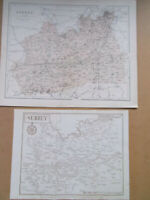 SURREY ANTIQUE MAPS NICE PAIR HUGHES DATED 1880 34x28cm  + SMALLER 1912 MAP