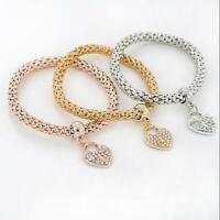 Fashion Women 3Pcs Gold Silver Rose Gold Bracelets Set Rhinestone Bangle Jewelry