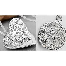 925 Sterling Silber Herz Bildmedaillon Halskette Bildermedaillion Photo