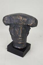 MCM Alvar Sunol Signed Bronze Overlay Matador Bust Sculpture Modernism