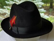 BILTMORE Canadian Suede FEDORA Black Hat with Red Feather & Pin Size 7 3/4  New