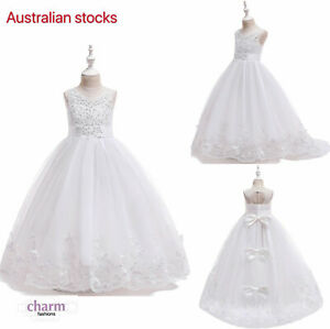 Flower Girl Communion Prom Princess Pageant Party bridal white lace dress
