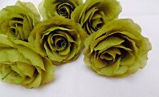 6 x sage green FAUX SILK ROSE FLOWERS (NOT FOAM)BRIDAL/CRAFT/BUTTONHOLE/BOUQUET