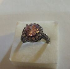 Bague Rose Pink Ring Anello Black Gold Filled – T. 53 Size 6.5/ New