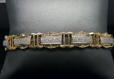 Hombres Reak 10k Oro Amarillo Original Brazalete Diamante 1.00CT 4 Filas