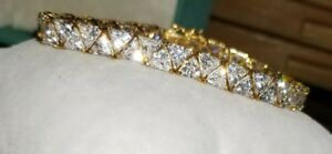 Ross Simon 18k yellow gold/Sterling silver clear cz Trillion tennis Bracelet
