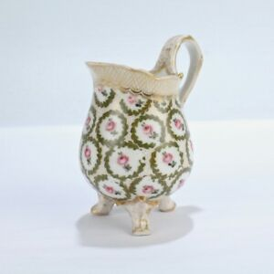 Old Or Antique French Porcelain Creamer - Pink Roses Green Wreath Twig PC