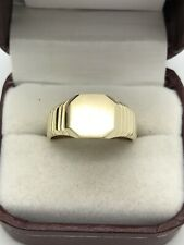 10k Yellow Gold Engravable Signet Style Ring Brush Finish Polished Solid Size 9