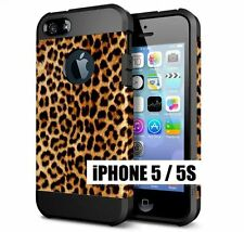 For iPhone SE 5S - HARD TPU RUBBER HYBRID SKIN CASE BROWN BLACK LEOPAR