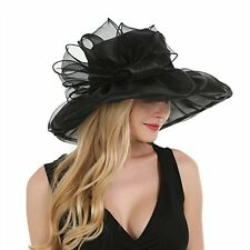 Saferin Womens Kentucky Derby Party Church Wedding Floral Organza Hat Black1