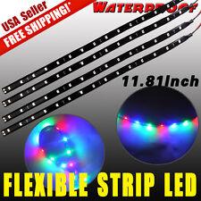 4pcs 30CM/15 LED Neon Glow Under Eye Car Motor Truck Cargo Interior Light Strip