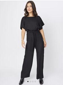 George Bnwt Black Crepe Short Sleeved Jumpsuit Size 16