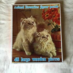 KITTY CAT Wooden Jissaw Puzzle 45 Piece VINTAGE RARE Persian Cat Ragdoll Kitten