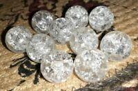 "10 Vintage Vitro Clear Fenton Crackle Shooter Marble 0.77"" Gorgeous"