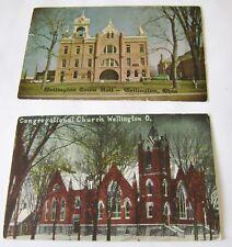 Wellington Ohio Postcards Town Hall Congregational Church Color Lot 2 Unposted
