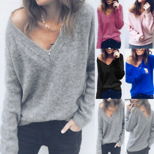 Ladies V Neck Long Sleeve Knitwear Tops Loose Knitted Pullover Jumper Sweater