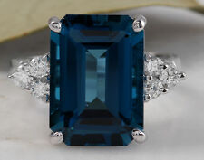 9.75ct Natural London Blue Topaz & Diamond 14K Solid White Gold Ring