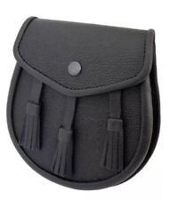 Chardon Casual Leather Sporran avec trois tressé pompons en cuir véritable